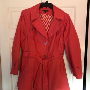 Coral rain jacket/trench coat